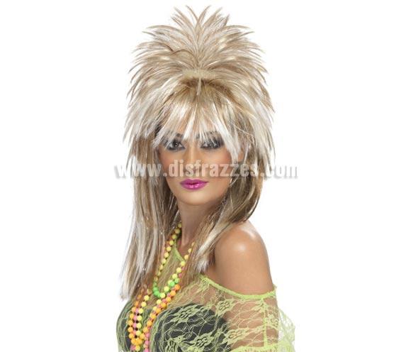 Peluca Rock Diva con destellos rubia y marrón.