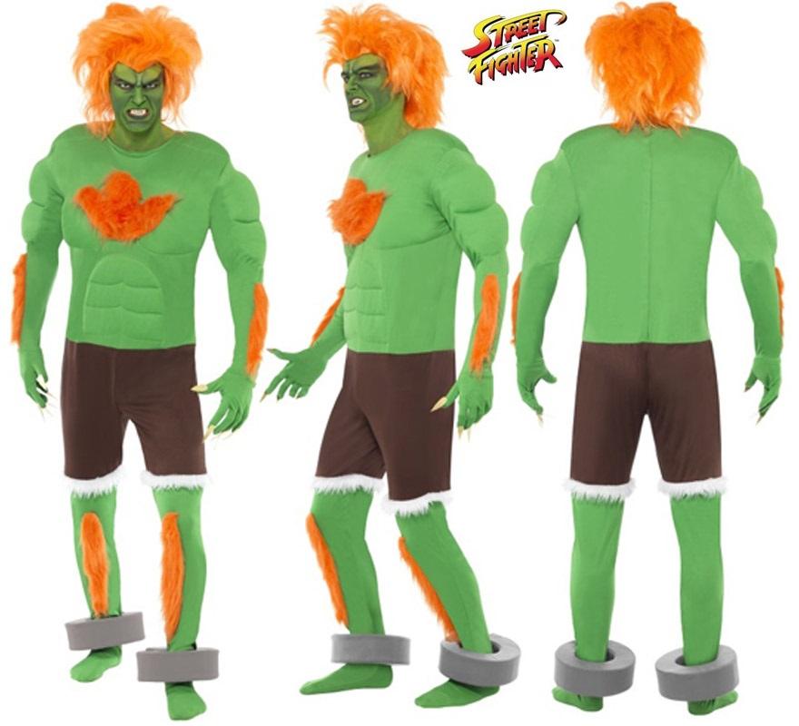 Disfraz de Blanka de Street Fighter IV musculoso para hombre talla M. Incluye disfraz completo SIN peluca, podrás encontrar parecidas en la sección de Complementos.