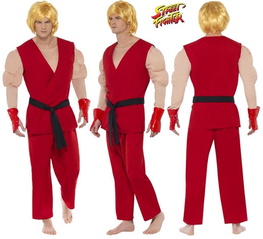 Disfraz de Ken de Street Fighter IV musculoso para hombre talla M. Incluye disfraz completo SIN peluca, podrás encontrar parecidas en la sección de Complementos.