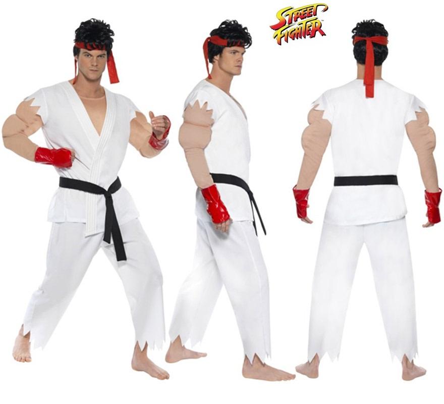 Disfraz de Ryu de Street Fighter IV musculoso para hombre talla M. Incluye disfraz completo.