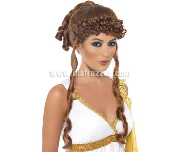 Peluca de Elena de Troya castaña con rizos y tirabuzones. También sirve como Peluca de Diosa Griega.
