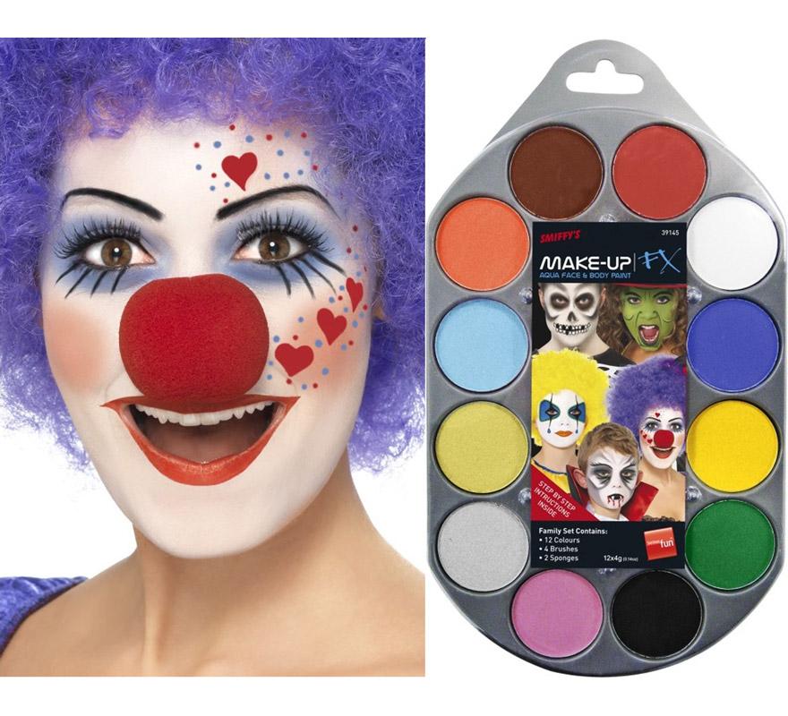Paleta de maquillaje al agua 12 colores. Incluye 4 cepillos esponja y guía con ejemplos prácticos.