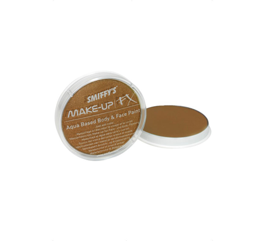 Maquillaje al Agua color Bronce Metalizado 16 ml. Es un maquillaje con base de agua para pintar la cara y el cuerpo que funciona como la acuarela. Se aplica con un pincel o con una esponja para maquillaje cuando el área a cubrir es mayor.