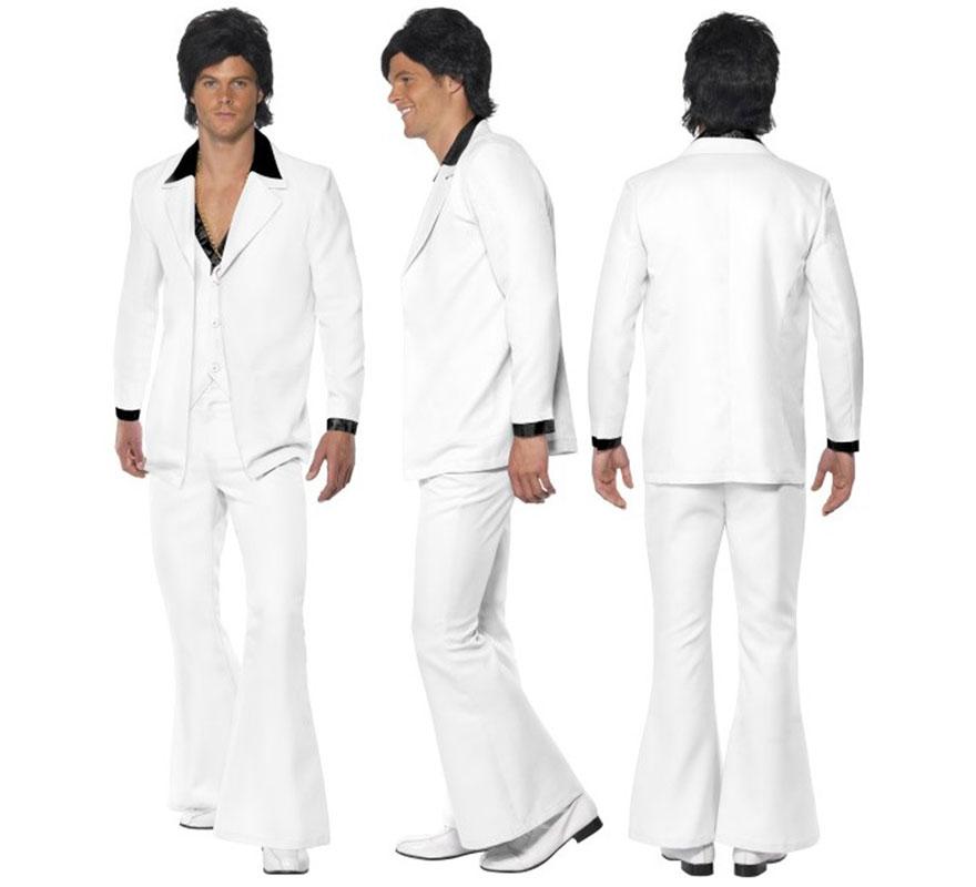 Disfraz Fiebre de los años 70 Blanco para Hombre talla M 42/44. Disfraz Disco de Alta Calidad con el que podrás emular al mítico personaje Tony Manero, protagonizado por John Travolta, de la legendaria película
