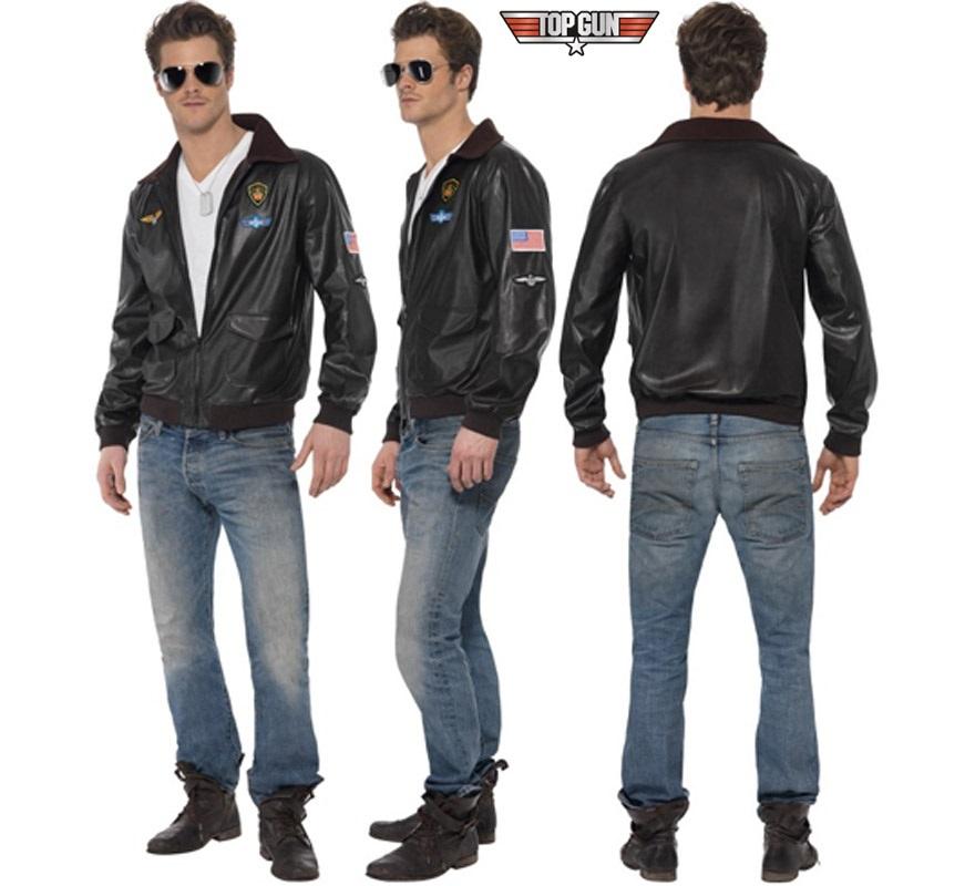 Disfraz - Chaqueta de la película TOP GUN para hombre talla L. Incluye chaqueta. Gafas NO incluidas, podrás verlas en la sección de Complementos. También sirve como chaqueta de Motorista y de Aviador.