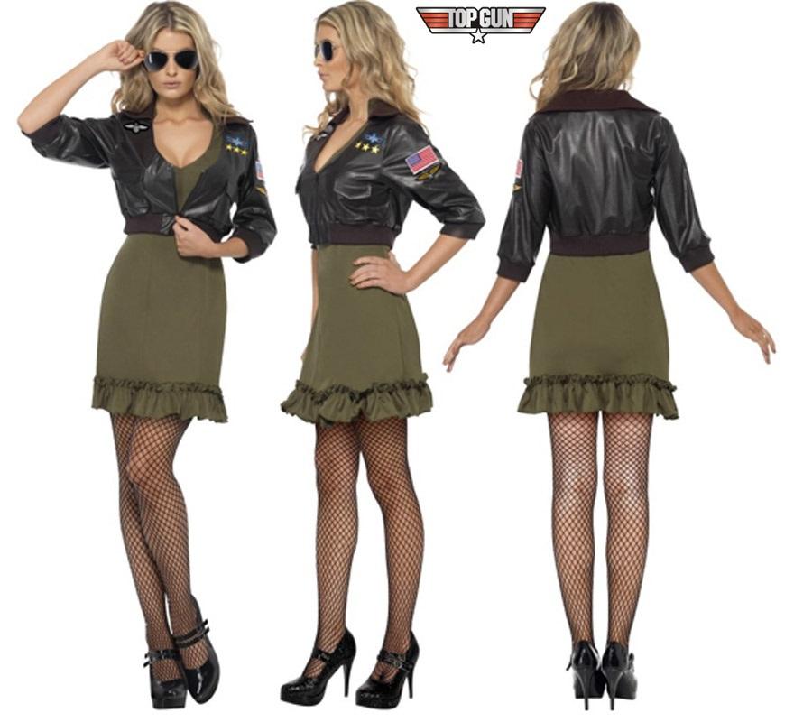 Disfraz de la película de TOP GUN sexy para mujer talla S. Incluye vestido y chaqueta. Gafas, medias y zapatos NO incluidos. Las gafas y medias podrás verlas en la sección de Complementos. También sirve como disfraz de Aviadora.
