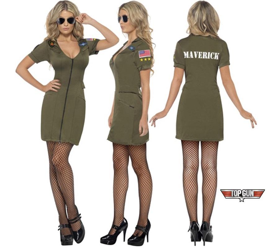 Disfraz barato de la película de Top Gun sexy para mujer talla M