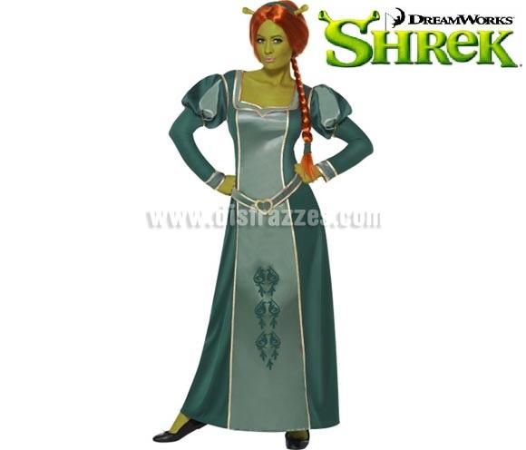 Disfraz de Princesa Fiona de Shrek para mujer talla L. Incluye vestido, peluca y diadema. También sirve como disfraz de Dama Medieval.
