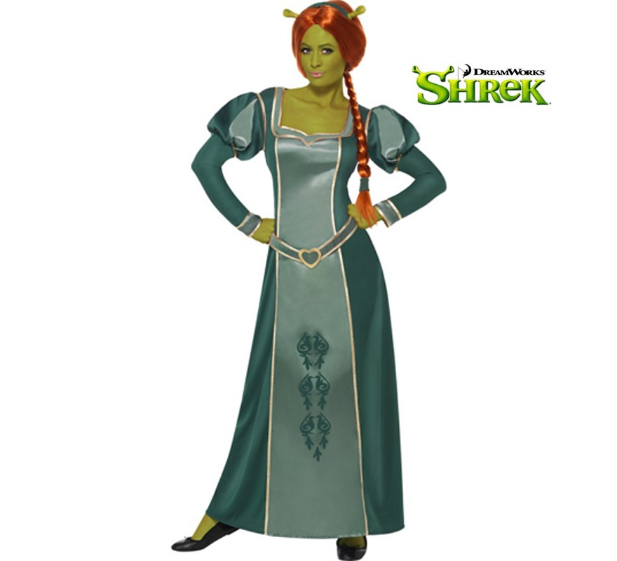 Disfraz de Princesa Fiona de Shrek para mujer talla M. Incluye vestido, peluca y diadema. Tambin sirve como disfraz de Dama Medieval.