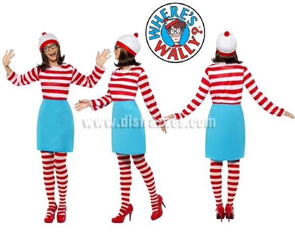 Disfraz de Dónde está Wally: Wenda para Mujer talla M 40/42. Disfraz Original y Genuino de la novia de Wally, Wenda de los magníficos libros o cómics de