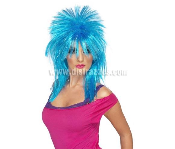 Peluca Rock Diva con destellos azul.