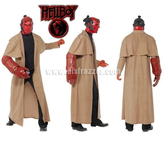 Disfraz de Hellboy con Licencia para hombres. Incluye abrigo, máscara, brazo y hebilla del cinturón.
