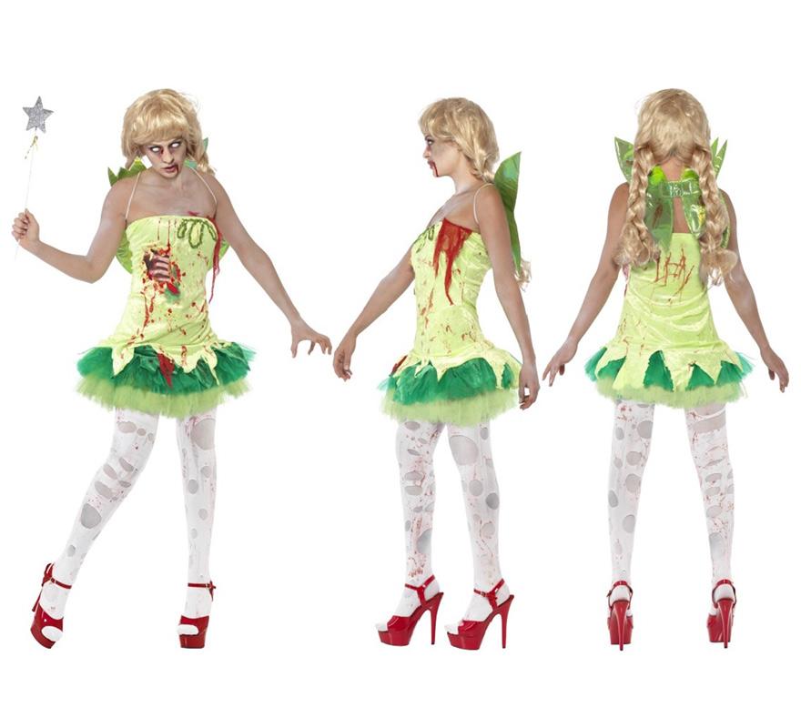 Disfraz de Hada Zombie Verde para Mujer talla M. Disfraz único y de alta calidad. Érase una vez una pesadilla en el país de Nunca Jamás en la que Campanilla érase un zombie. Se compone de Vestido con pieza de latex en el pecho y Alas. Completa este escalofriante disfraz con complementos de nuestra sección de accesorios como varita, medias, peluca, maquillaje, sangre...