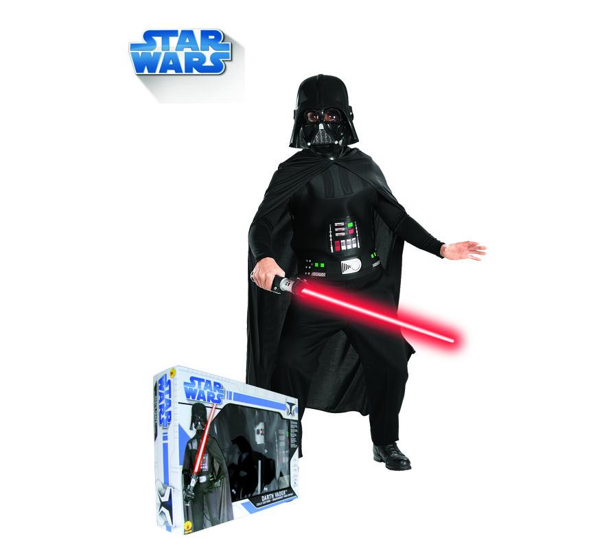 Disfraz de Darth Vader para niño. Talla de 8 a 10 años. Incluye traje completo, máscara, capa y espada con luz. Presentación en caja ideal para regalo. Disfraz con licencia STAR WARS de la factoria Lucas. Éste disfraz es ideal para Carnaval y para regalar en Navidad, en Reyes Magos, para un Cumpleaños o en cualquier ocasión del año. Con éste disfraz harás un regalo diferente y que seguro que a los peques les encantará y hará que desarrollen su imaginación y que jueguen haciendo valer su fantasía.  ¡¡Compra tu disfraz para Carnaval o para regalar en Navidad o en Reyes Magos en nuestra tienda de disfraces, será divertido!!
