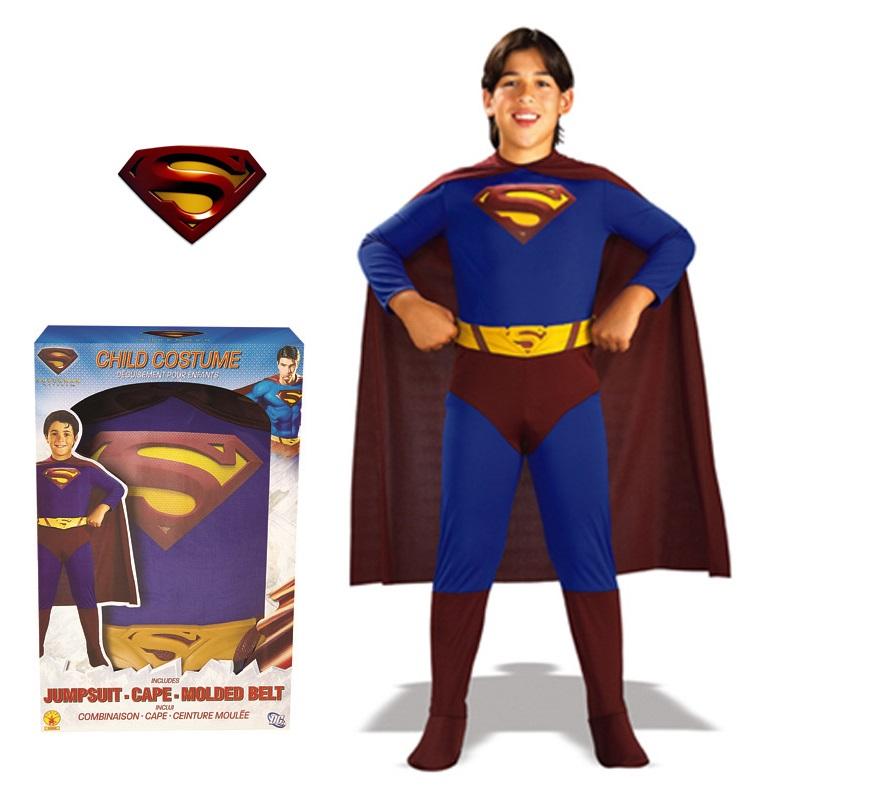 Disfraz de Superman para niños de 8 a 10 años. Incluye traje completo con cubrebotas, capa y cinturón. Disfraz con licencia ideal para regalar en cualquier ocasión.