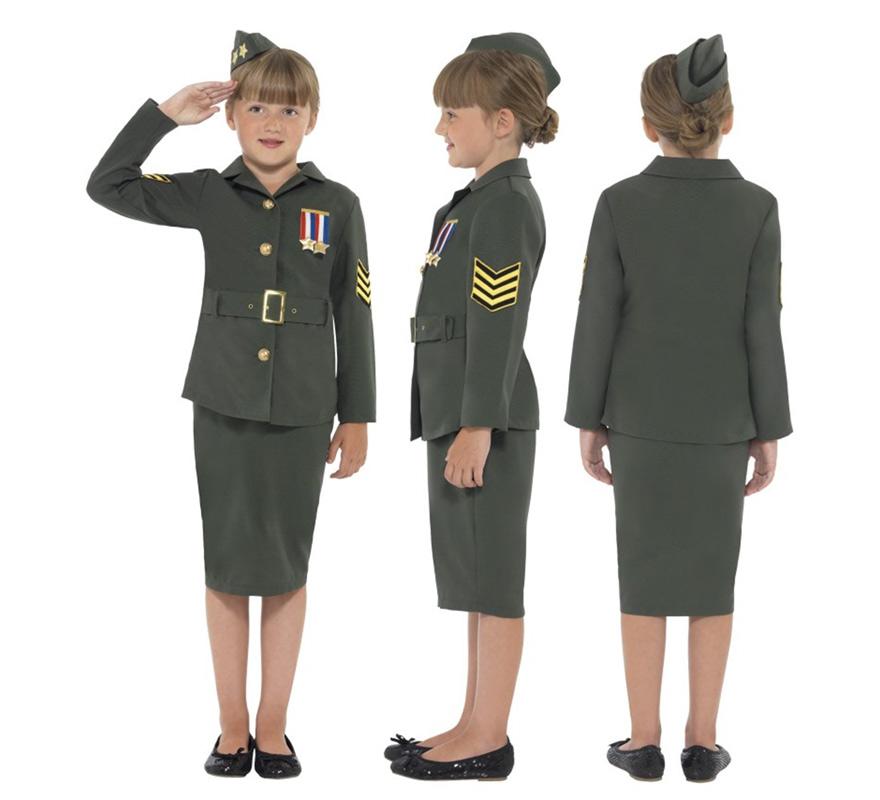 Disfraz Militar de la 2ª GM para Niñas de 10 a 12 años. Disfraz único y de alta calidad de chica del ejército de la Segunda Guerra Mundial. Incluye Chaqueta con cinturón e insignia, Falda y Gorro.