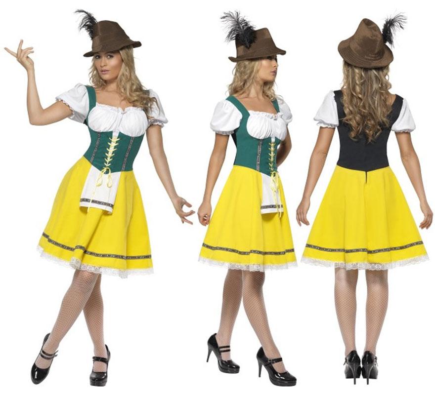 Disfraz de Oktoberfest para Mujer talla XL 48/50. Disfraz Único y de Alta Calidad especial para Fiestas de la Cerveza Octoberfest. También podría servir como disfraz de Tirolesa o Bávara. Sólo incluido Vestido, que lleva un pequeño delantal unido a él. Completa tu disfraz con artículos de nuestra sección de accesorios.