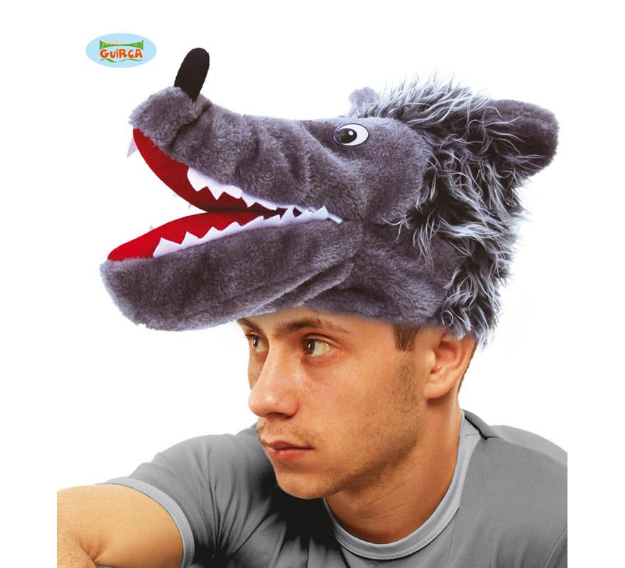 Gorro o Sombrero de Lobo gris. Ideal para Colegios y para todo tipo de Fiestas y Despedidas. Es un muy calentito ideal para los sitios donde hace frío.