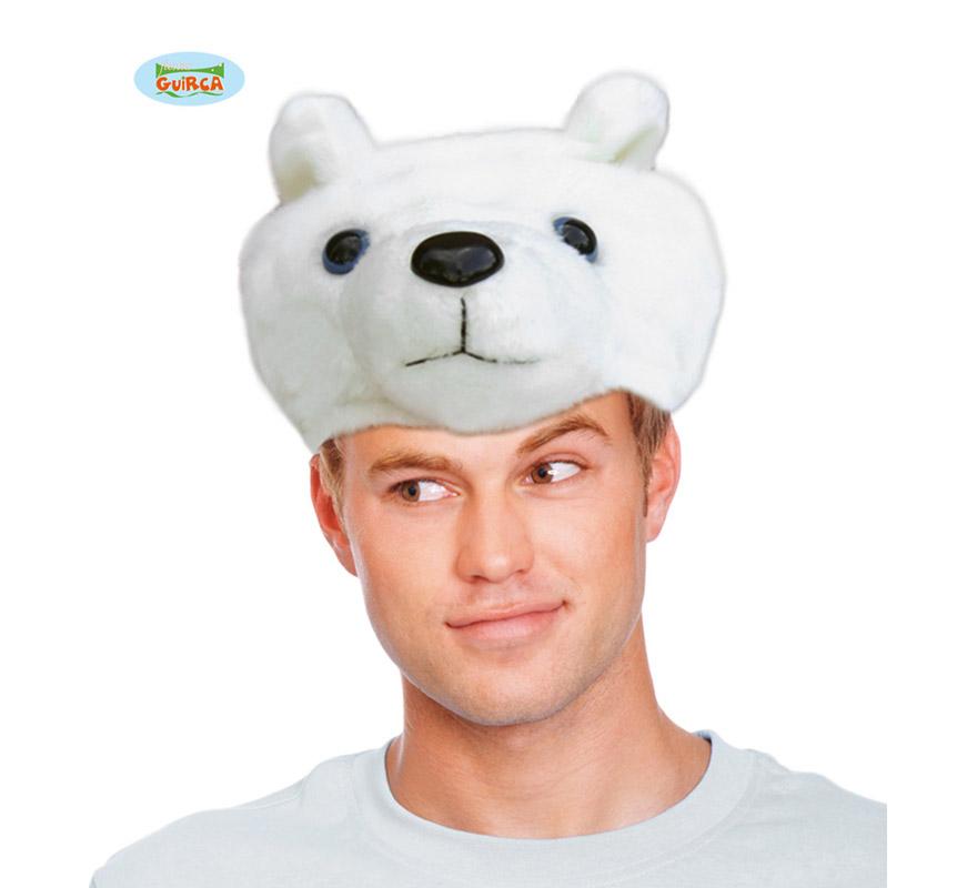 Gorro o Sombrero de Oso Polar blanco. Ideal para Colegios y para todo tipo de Fiestas y Despedidas. Es un muy calentito ideal para los sitios donde hace frío.
