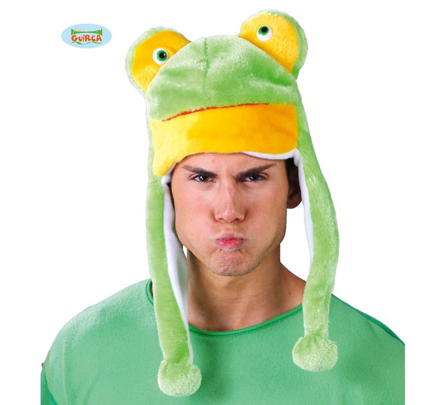 Sombrero o Gorro de Rana verde. Ideal para Colegios y para todo tipo de Fiestas y Despedidas. Es un muy calentito ideal para los sitios donde hace frío.