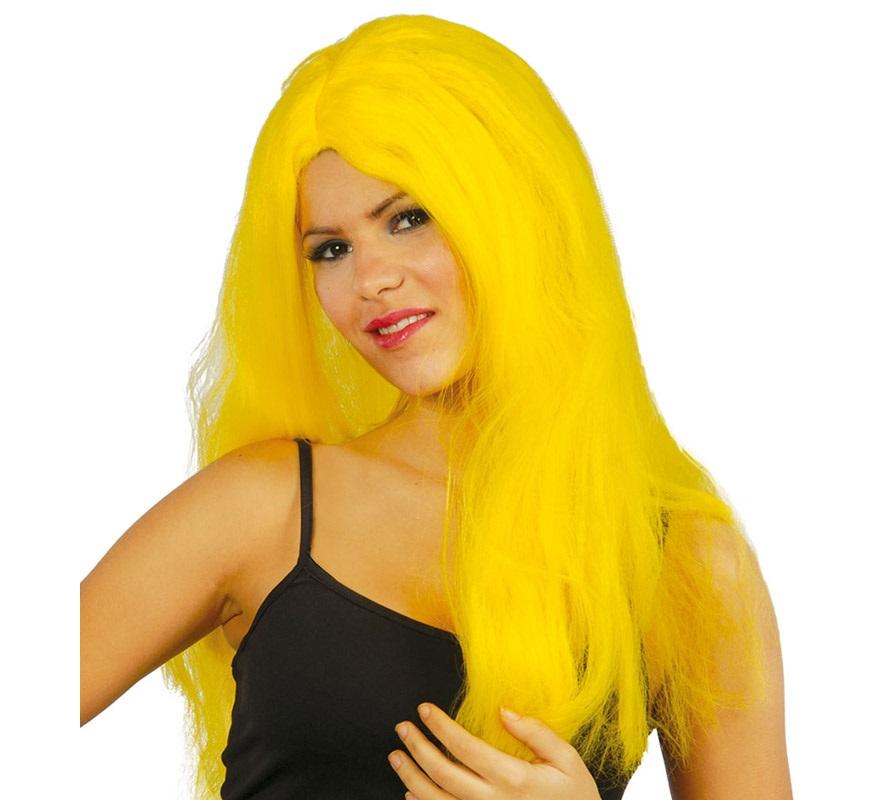 Peluca Melena Larga Rubia Lisa. Perfecta para disfraces como el de Jamelga Anderson o Pitufina.