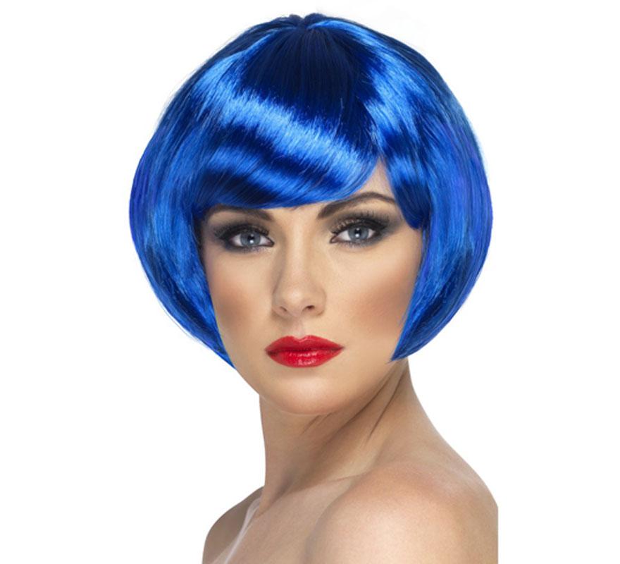 Peluca Corta estilo Bob color Azul Neón o Fluorescente. Artículo de Alta Calidad. Ideal como complemento de nuestros disfraces de los años 20, Flapper y Cabaret. Perfecta para Despedidas de Soltera.