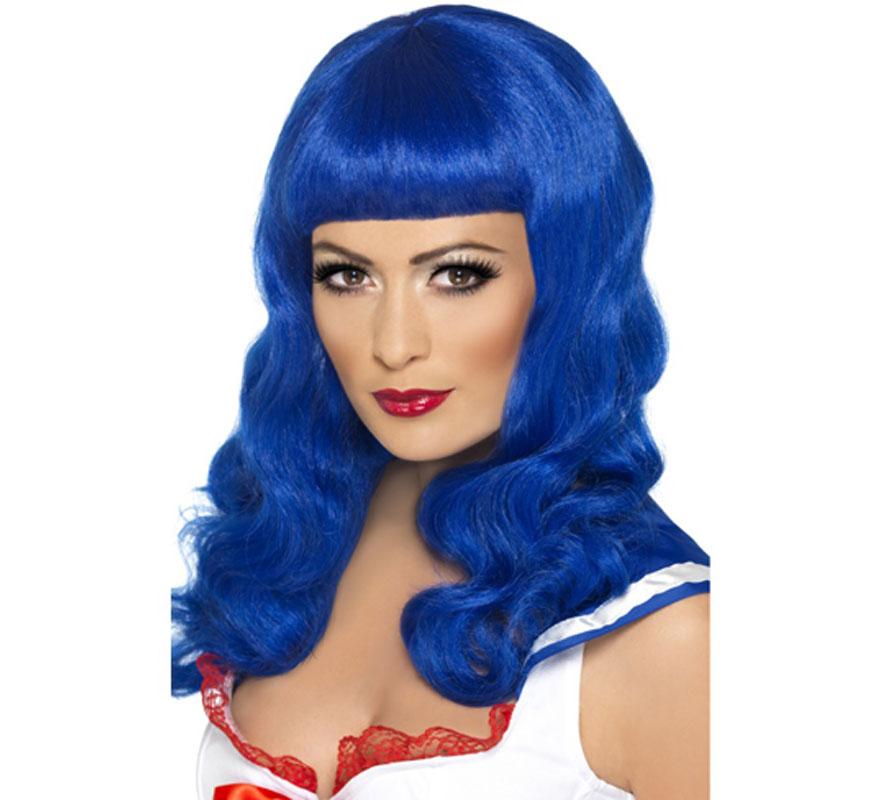 Peluca Reina del Pop color Azul para Mujer. Complemento de Alta Calidad con el que podrás imitar el estilo del icono del Pop actual