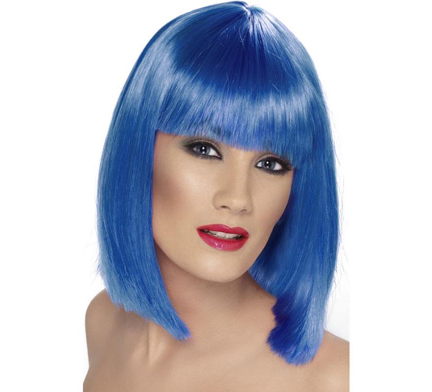 Peluca Media Melena Lisa color Azul Neón o Fluorescente. Artículo de Alta Calidad. Ideal como complemento de nuestros disfraces Disco, diva Dance o Pop, Bruja, Hada o Ninfa...