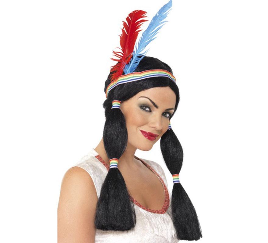 Peluca y Penacho Princesa India para mujer con 2 coletas adornadas. Perfecto para imitar el disfraz de la Princesa India Pocahontas. Complemento de Alta Calidad e Ideal para nuestros disfraces de India Americana.