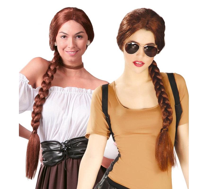 Peluca trenza castaña de Tabernera. Podría valer como peluca de Lara Croft que interpreta Angelina Jolie en la película Tom Raider. Envase en caja.