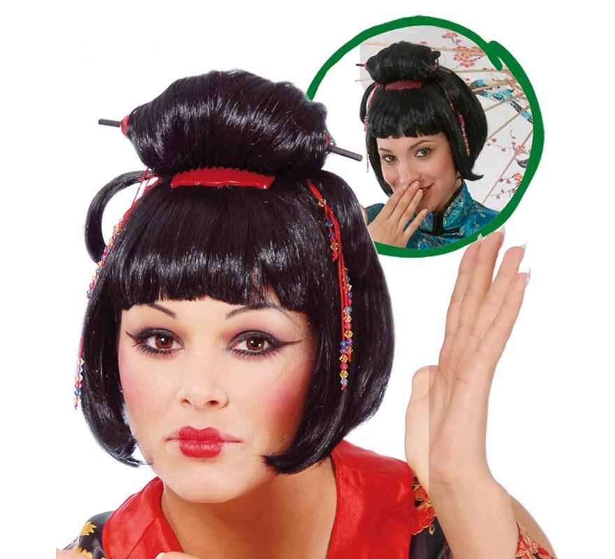 Peluca de Japonesa o Geisha para mujer. Envase en caja.