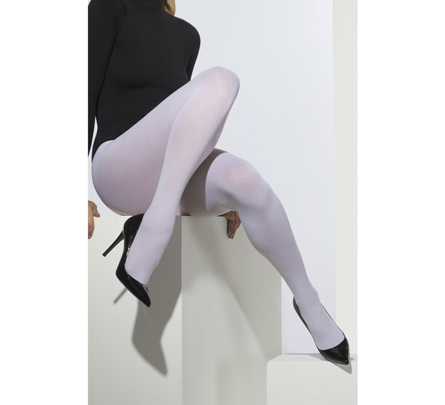 Pantys Opacas Blancas. Completa tu disfraz con este artículo Sexy de Gran Calidad.. Perfecto en nuestros disfraces de bailarina, Mamá Noel, Sirvienta o Criada, Enfermera, Ángel, Monja...
