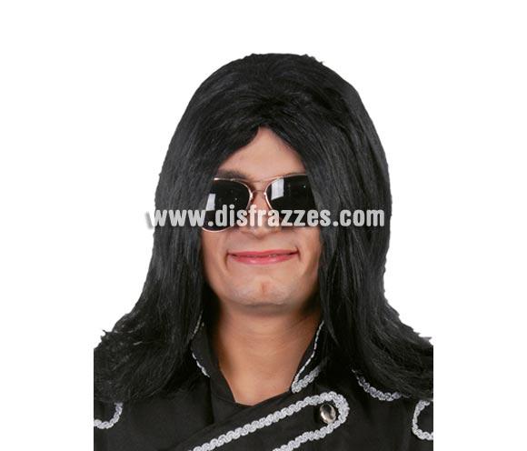 Peluca Rey del Pop Lisa. Peluca lisa morena para el disfraz de Michael Jackson.