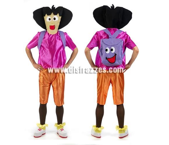 Disfraz de Niña Exploradora para adultos. Talla Universal adultos. Incluye cabeza, camisa, pantalón, cubrepies y mochila.