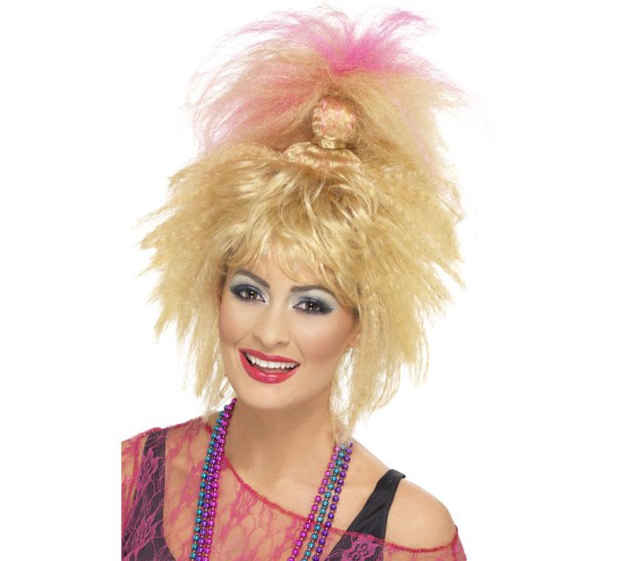 Peluca Rubia de los 80 con mechas Rosas y Cola de Caballo. Complemento ideal y de Alta Calidad para nuestros disfraces de estética de los años 80, Divas, cantantes o estrellas del Rock, Pop y Punk. Muy llamativa.