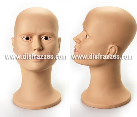 Busto decorado de plástico hombre. Perfecto para peinar y guardar tus pelucas.