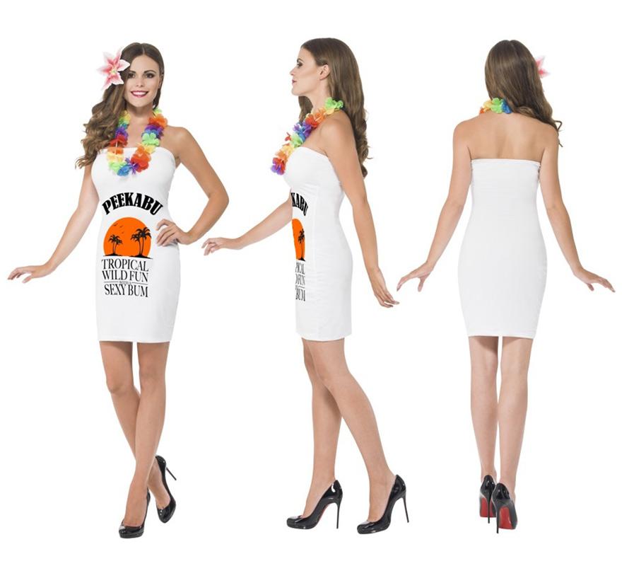 Disfraz Peekabu Caribbean para Mujer talla S. Incluye Vestido, Lei (collar hawaiano) y Flor del pelo. Look perfecto en fiestas veraniegas y hawaianas.