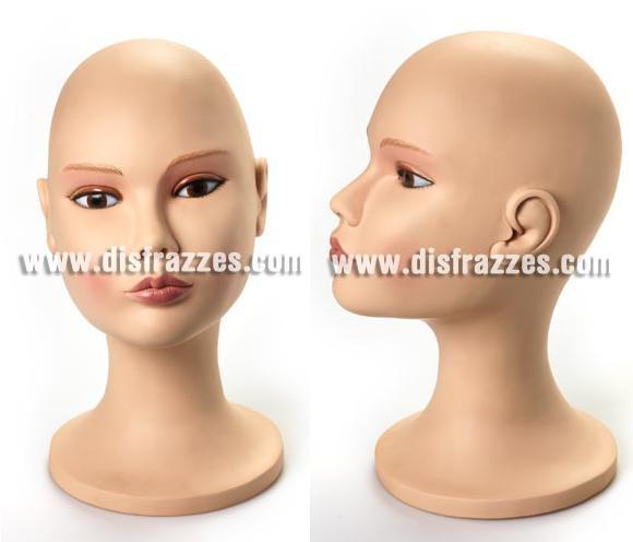 Busto decorado de plástico mujer. Perfecto para peinar y guardar tus pelucas.