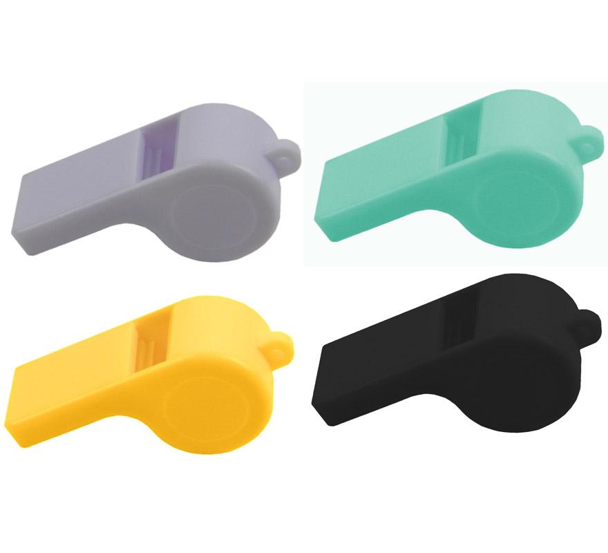 Pitos de plástico de colores variados. Precio por unidad, se venden por separado. Perfectos para Fiestas, Desfiles, Carrozas, etc.