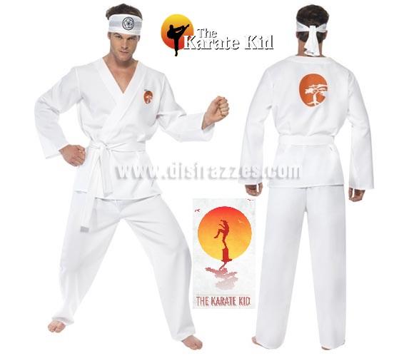 Disfraz de Daniel San de Karate Kid para hombre talla M. Incluye chaqueta, pantalón, cinturón y cinta para la cabeza.