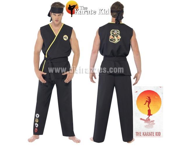 Disfraz de Cobra Kai de Karate Kid para hombre talla M. Incluye chaqueta, pantalón, cinturón y cinta para la cabeza.