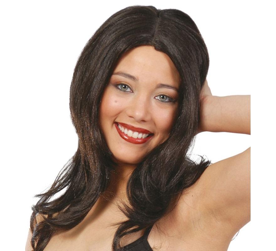 Peluca melena negra para Carnaval y Halloween.