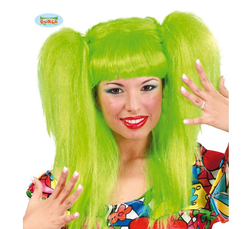 Peluca Rockera con coletas verde. También peluca de Bruja moderna.