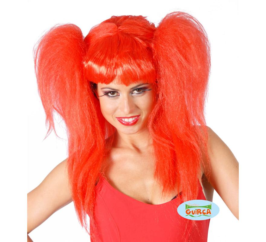 Peluca Rockera con coletas roja. También peluca de Diablesa moderna.