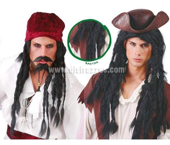 Peluca Rastas largas negra de Pirata.