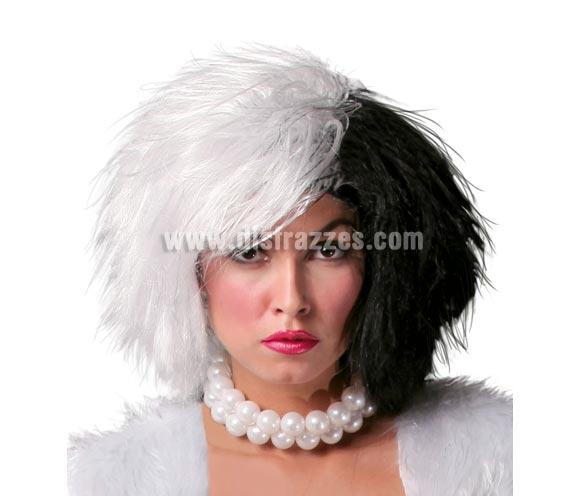 Peluca Cruella de Vil blanca y negra para Halloween.