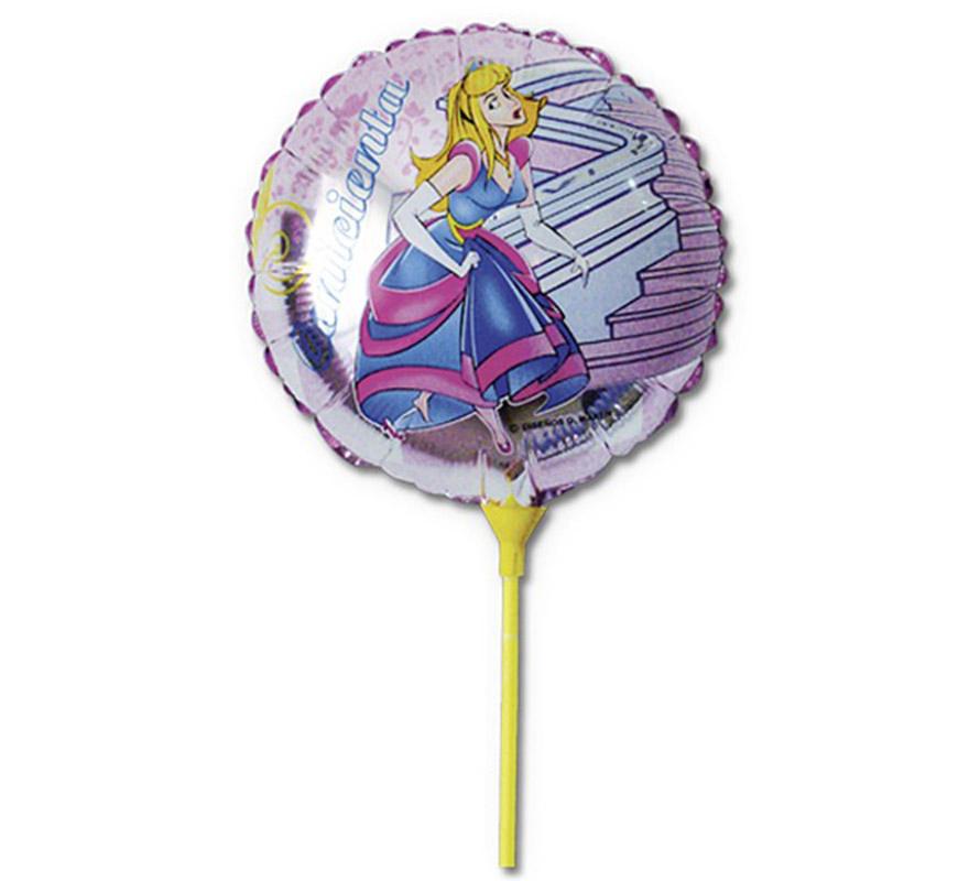 Globo de Cenicienta poliamida con palo. Ideal para decorar en una Fiesta de Cumpleaños.