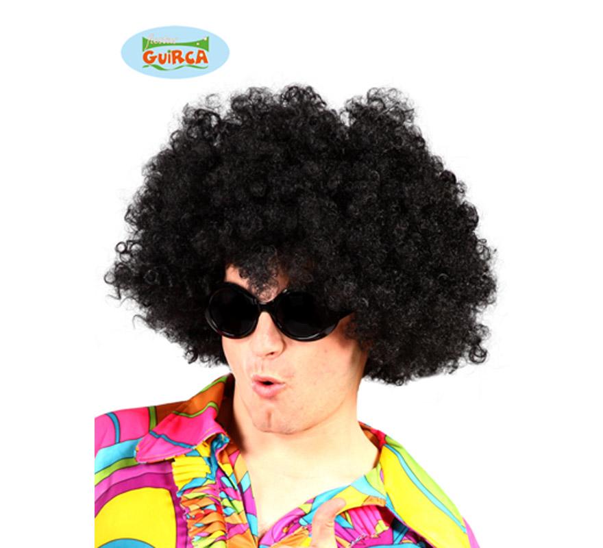 Peluca de Hippie Afro negra.