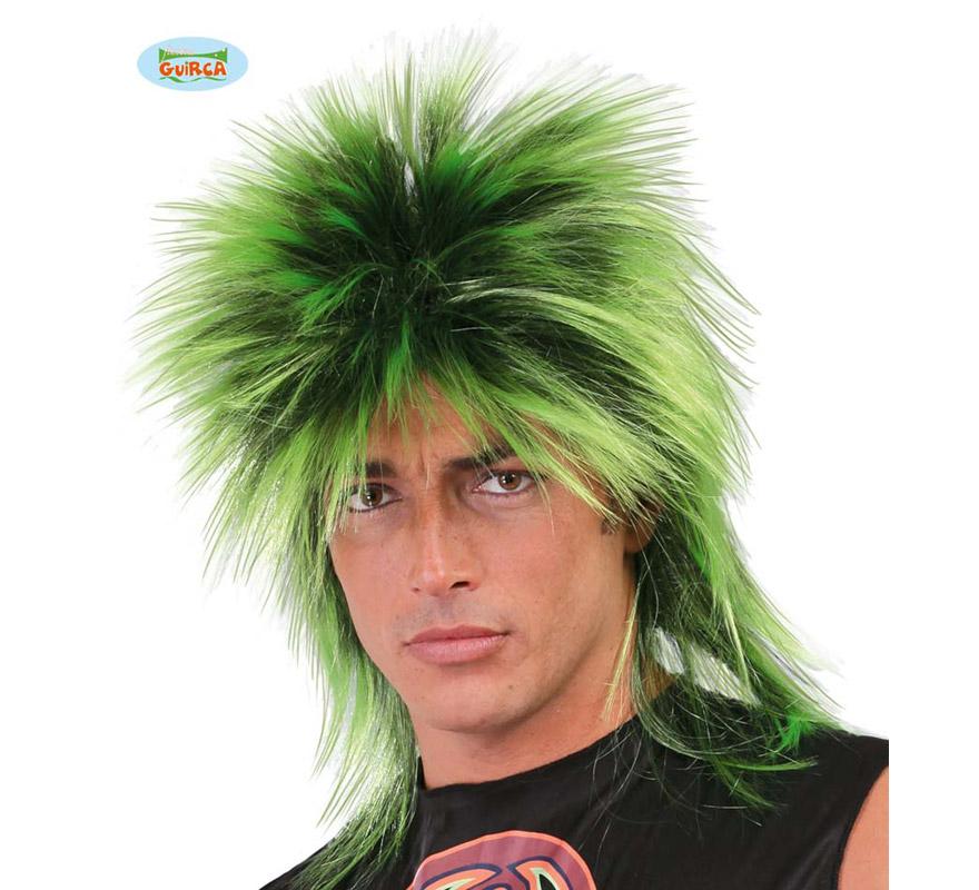 Peluca de Punky verde. Envase en caja.
