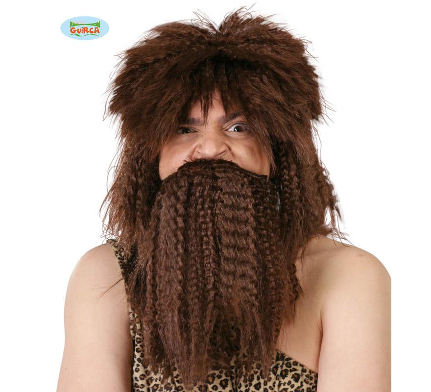 Peluca y barba de Náufrago castaña. Envase en caja. También valdría como peluca de Troglodita o Cavernícola, incluso de Vikingo o Bárbaro.